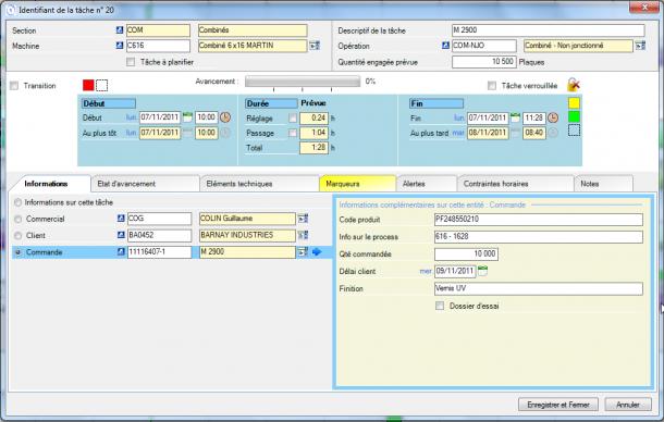 Direct Planning Industrie - Les informations des entités visibles dans le détai de tâche