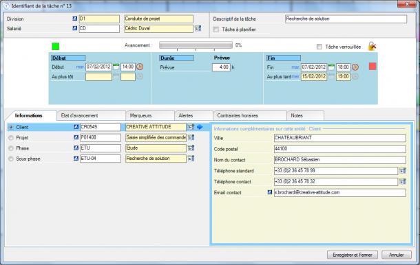 Direct Planning Projet - Visualisation des entités dans le détail de tâche
