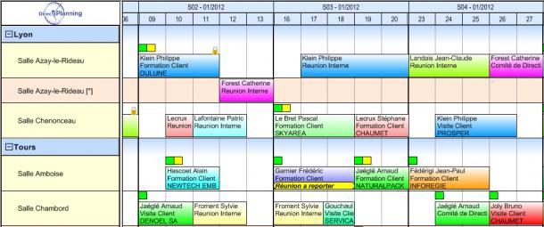 Direct Planning Service - Configuration visuelle d'un planning de réservation de salle