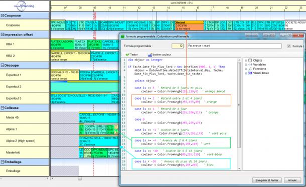 Exemple de coloration conditionnelle en fonction de l'avance ou du retard des tâches planifiées