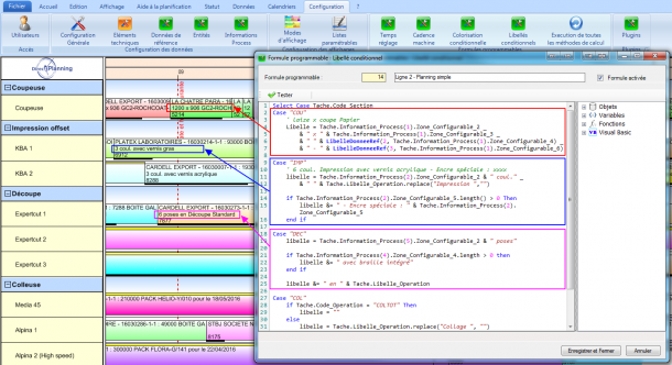 Exemple de libellés configurables selon la section atelier. On affiche les données techniques les plus pertinentes selon la section.