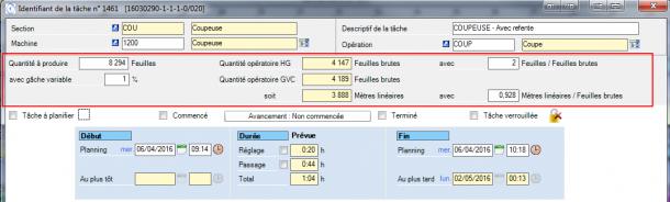 Un exemple complexe de configuration de l'écran du détail de tâche avec 3 unités d'œuvres différentes.