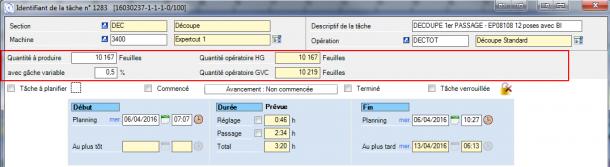 Un exemple simple avec une seule unité d'œuvre : l'écran se configure automatiquement pour masquer les zones non utiles.