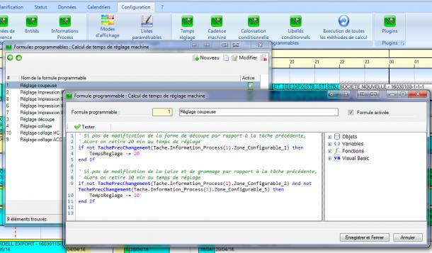 Un exemple d'écriture de formule programmable d'altération du temps de réglage.