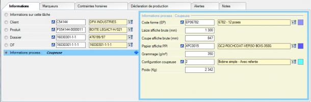 Exemple d'information process « Coupeuse » : les informations sont spécifiques à cette machine
