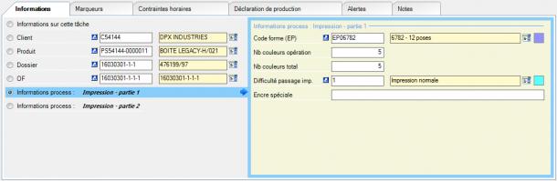 Exemple d'information process « Impression » : les informations sont cette fois spécifique à cette machine d'impression