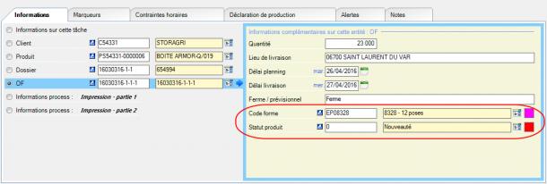 Exemple d'utilisation de deux données de référence « Code forme » (outillage) et « Statut produit » (indicateur de nouveauté ou renouvellement produit), au sein de l'entité « ordre de fabrication (OF) ».