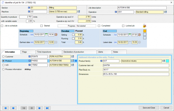 Direct Planning Industry - Entity data displayed in job details