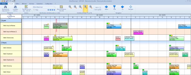 Direct Planning Service - Vue générale du planning avec un exemple de planning de réservation de salles